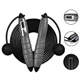 DAREN&KIWI Schnurloses Seilspringen, Einstellbare Digital Wireless Speed Springseil mit LCD-Zähler für Indoor Outdoor Sports Training Fitness (Grau)