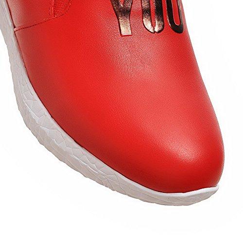 VogueZone009 Damen Gemischte Farbe Pu Leder Mittler Absatz Rund Zehe Ziehen Auf Pumps Schuhe Rot