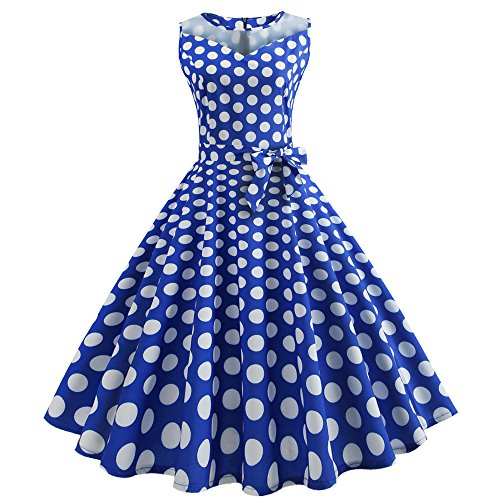 OverDose Damen Urlaub Strand Stil Frauen Vintage Dot Bunte Druck Sleeveless Mesh Patchwork Abend Party Bar Dating Schlank Swing Kleid Rock Dirndl(Blau, EU-38/CN-XL )
