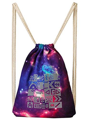 3M Scotchlite Reflective Drawstring Backpack Sports Bag Gym Bag Sack Pack (Galaxy)