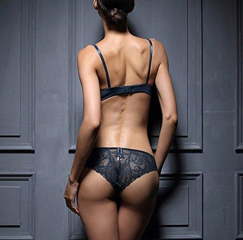 Bh Set Deep V-Teilchen von sexy Versuchung zurück Frau spitzen-bh Blau