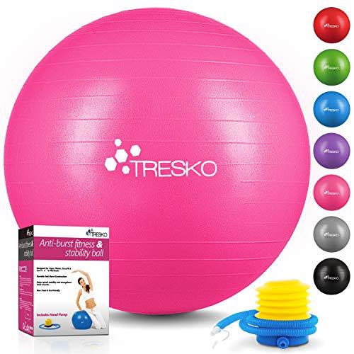 TRESKO® Ballon de Gymnastique | Anti-éclatement | Boule d'assise | Balle de Yoga | Balles d'exercices Fitness | 300 kg | avec Pompe à air | Rose | 75cm