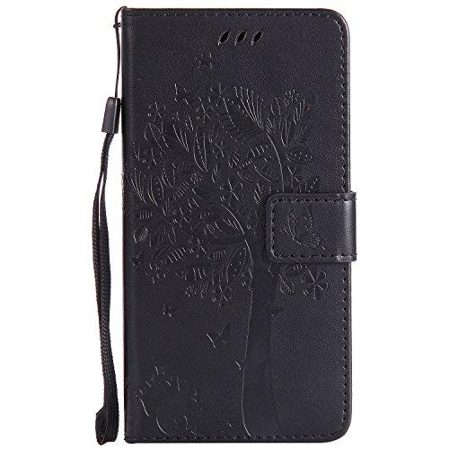 Chreey Motorola Moto G5 Plus Hülle, Prägung [Katze Baum] Muster PU Leder Hülle Flip Case Wallet Cover mit Kartenschlitz Handyhülle Etui Schutztasche [Schwarz]