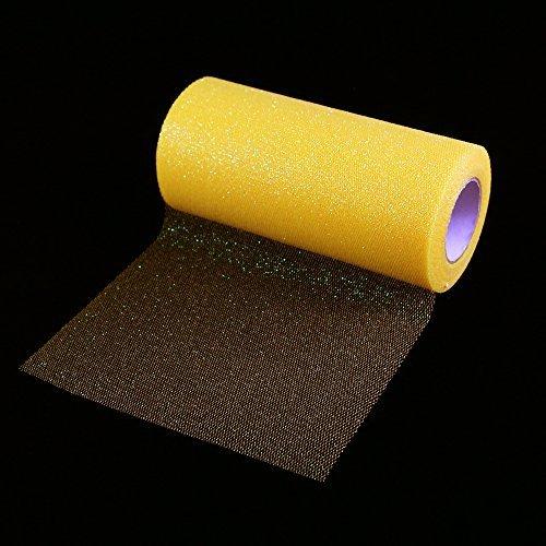 Glitzernder Tüll, Stoffband-Rolle, glänzendes Netzband, 15,2cm breit, 22,8 m Länge, für Tutu-Rock, Hochzeitsdekoration, Tischläufer gelb