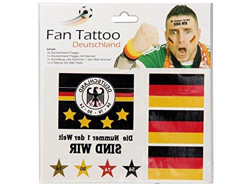 Alsino fan tattoo 6er set germania tat towie rung bandiera stella & scritta–6tatuaggi mondiali articolo