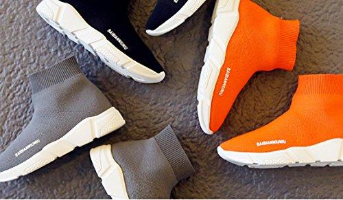 Sheng Teng Unisex - Kinder Jungen Mädchen Strick Sneaker Elastische Casual Schuhe Frühling Outdoor Walking Stiefel Turnschuhe Grau