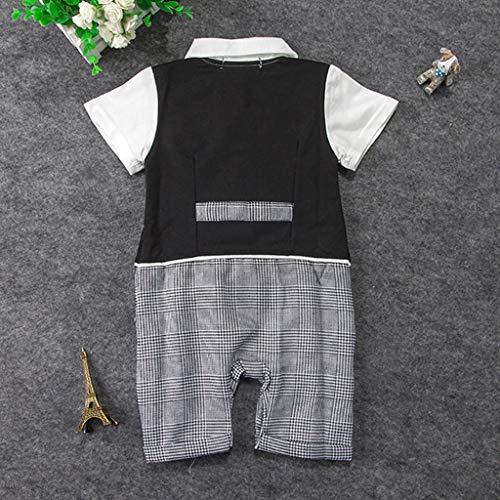 MHC~KJ Infant Baby Boys Short Sleeve Gentleman Romper Solid Print Jumpsuit Gray Image 3