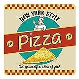 New York Stil Pizza 50's. Retro, alt retro Werbetafel für die Küche, Speiselokal, Pizzeria, Restaurant, Essen BAR, Cafe oder Café Metall/Stahl Wand Zeichen - 9.5 x 9.5 cm (Coaster)