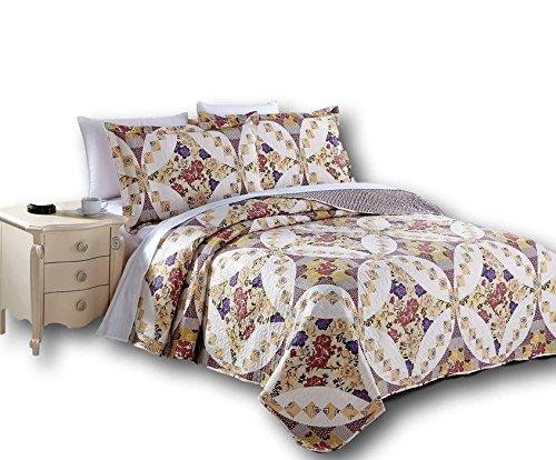 Dada Bettwäsche Kollektion elegante Wisteria Rosen Quilt, Patchwork Tagesdecke Set, Blumen, bunten lila und weiß, 2-3-teilig., Polyester-Mischgewebe, multi, King Size -
