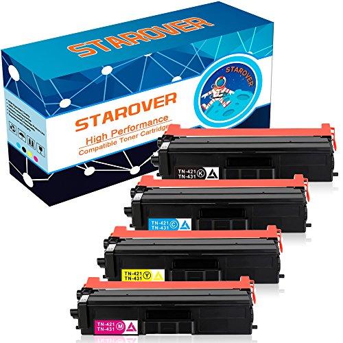 STAROVER 4x Kompatibel Tonerkartuschen Ersatz für Brother TN423 TN-423 (TN-423BK, TN-423C, TN-423M, TN-423Y ) / TN421 TN-421 (TN-421BK TN-421C TN-421M TN-421Y) Toner Patronen für Brother HL-L8260CDW HL-L8360CDW DCP-L8410CDN DCP-L8410CDW MFC-L8690CDW MFC-L8900CDW (1 Schwarz, 1 Cyan, 1 Magenta, 1 Gelb)