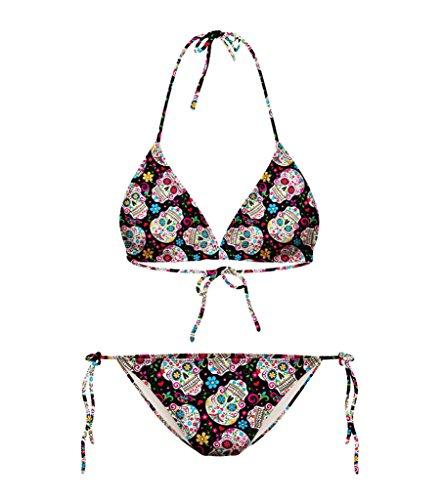 Smile YKK Strand Sommer Damen Bikini-Sets Tankini Neckholder Badeanzug Bademode Swimwear/Ohne Brustpolster Und Stahl-Pflege Totenkopf Schwarz (Totenkopf-bikini)