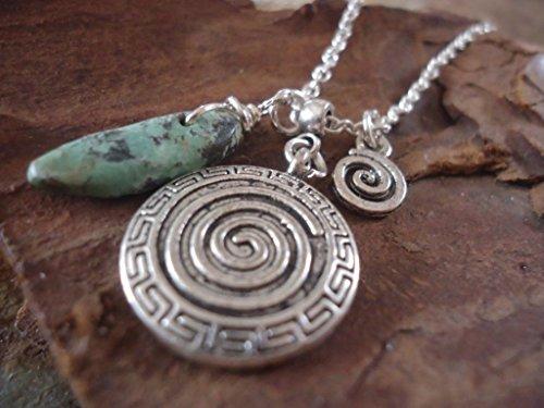 Collar DELICADO SPIRAL & TURQUESA con plata tibetana