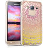 kwmobile Funda TPU silicona transparente para Samsung Galaxy J3 (2016) DUOS en amarillo rosa fucsia transparente Diseño sol indio