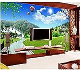 Ytdzsw Papel Tapiz 3D Foto Personalizada No Tejido Mural Montaña Villa Prado Flores Pintura Murales...