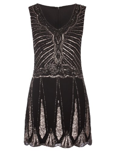 Ladies Womens Sleeveless Sequin Flapper Party Prom Dress 8-16