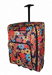 Bright Multi Coloured Flower Onboard Luggage Cabin Trolley Case Wheeled Hand Luggage Bag Multicoloured