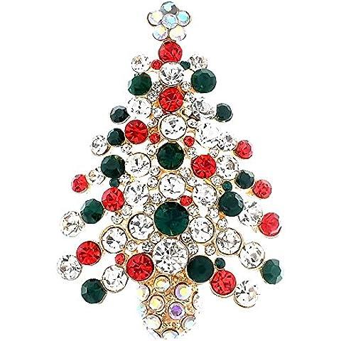 Albero di Natale forma strass placcato Pin