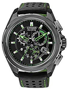 Citizen Proximity Bluetooth Men's Eco-Drive Watch with Black Dial Chronograph Display and Black TPU Strap AT7035-01E