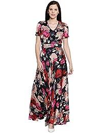 5bcb2c27d4 Just Wow Women Multi Color Printed Maxi Dress