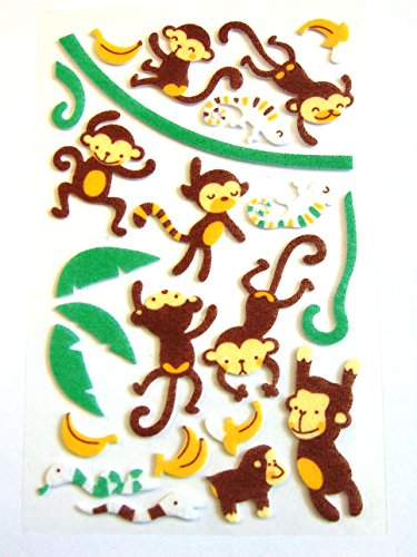Filz-Sticker für Kinder, Motiv Affe und Banane, zum Basteln und Basteln von Karten