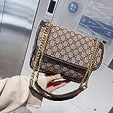 WOAIRAN Umhängetasche Frauen Umhängetasche Clutch Mode Vintage Damen Einfache Freizeit Crossbody Kette Kleine Quadratische Tasche Braun
