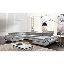 JUSThome GENESIS XL-FP COMFORT Sofá esquinero chaise longue Sofá de esquina función de cama Sofá-cama Piel sintética (BxLxH): 287x374x72/91 cm Gris Blanco Brazo derecho