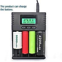 SUPEREX® smart battery charger tragbare externe Akkus batterie Ladegerät für 3,7 V Li-ion 26650 18650 18350 16340 14500 10440, 26650 18650 3.2V LiIFePO4 16340 14500 10440, 1,2 V NiMH AA AAA mit LCD Anzeige Schwarz