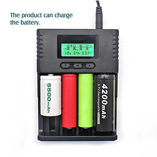 SUPEREX Battery Charger Récente Version Universal Chargeur Intelligent de Batterie avec Écran LCD pour 3.7V Li-ION 3.2V LiIFePO4 7.4V Li-ion/6F22 9V Batteries 1.2V, 8.4V NiMH Couleur Noir