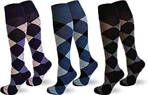 3 Paar Karo Knietstrümpfe aus Baumwolle Farbe Farbset 1 Größe 35/38