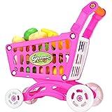 Carrello Supermercato con Accessori,simulazione giocattolo,Shopping Trolley Spesa Carrello Giocattolo in Plastica per Bambino Giochi Di Ruolo, Idea Regalo