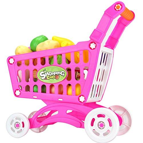 Juguetes Creativos, Zantec Juguetes de supermercado de plástico Carro de compras con frutas Juguete de cocina en miniatura Bebé Juguete educativo temprano
