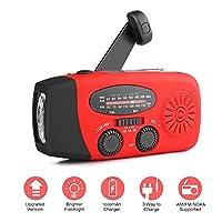 AOZBZ Solar Emergency Radio, Hand Crank Self Powered AM FM NOAA Radio, Multifunctional Dynamo Weather Radio with 3-LED Flashlight and Power Bank