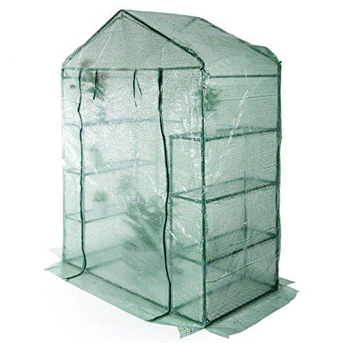 Verdelook serra da giardino a casetta a 8 ripiani acciaio + telo pe retinato 140x72.5x195 cm
