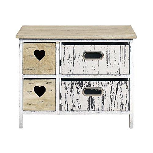 Rebecca srl cassettiera comodino mobile bagno 4 cassetti paris legno chiaro bianco cuore shabby retro cucina camera (cod. re4426)