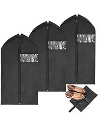 MaidMax lot de 3 Housses de Protection pour Vêtements/Costumes avec fermetures à glissière pleine longueur, fenêtre en PVC transparent et un sac de chaussure bonus - 106 x 60 cm