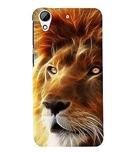 printtech Nature Lion Face fantasy Back Case Cover for HTC Desire 728G