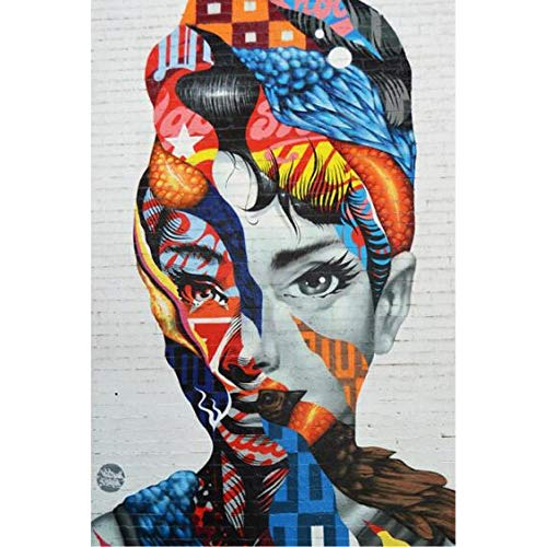 HUHUSHAO Street Graffiti Wandkunst Leinwand drucken abstrakte Aquarell Bild Wohnkultur Wandbild -