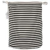 Sea Team Waterproof Coating Ramie Cotton Fabric Folding Laundry Hamper, Storage Basket,Black Stripe by Sea Team