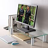TAVR Furniture Glass Monitor Stands Screen Riser for Computers, Laptops & TVs 60 x 26x12(H)cm CM2001