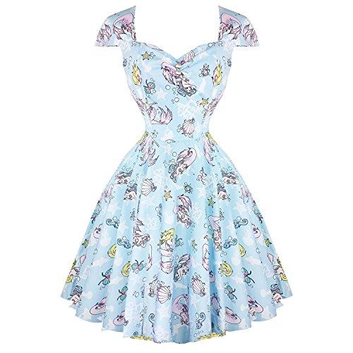 Hell Bunny Damen Kleid blau blau Gr. 46, blau (Dress Fit-n-flare)