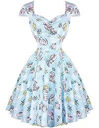 75a239bd6097 Hell Bunny Coralia Bleu Pastel Sirène Pinup Années 1950 Rockabilly Rétro  Robe Vintage