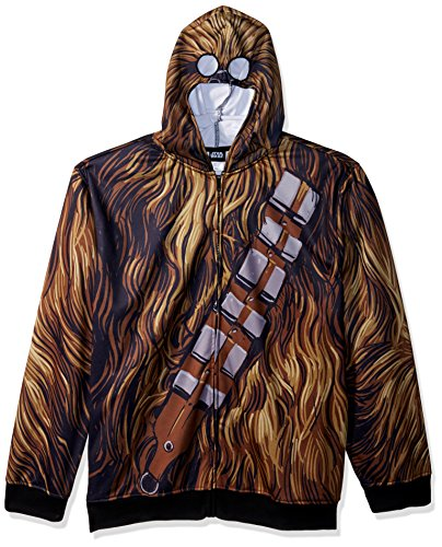 Star Wars Herren Chewbacca Character Zip Front Hoodie Kapuzenpulli, braun, Mittel Star Wars Chewbacca Fleece