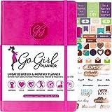 GoGirl Planner - agenda per obiettivi e organizer per donne - senza data - inizia in qualsiasi momento, dura 1 anno, 13,3 x 19,7 cm A5 (5.7'' x 8.5'') Rosa acceso (senza data).