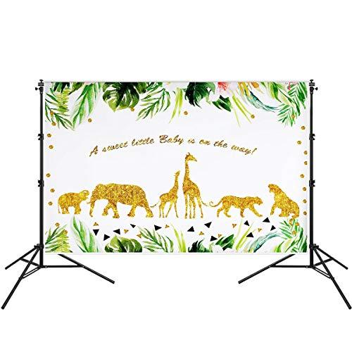 Fsskgx 7ftx5ft Hintergrund-Foto-Studio-Requisiten, Wilder Dschungel-Thema-Foto-Hintergrund Babyparty-Geburtstags-Fotografie-Hintergrund - goldene Tiere
