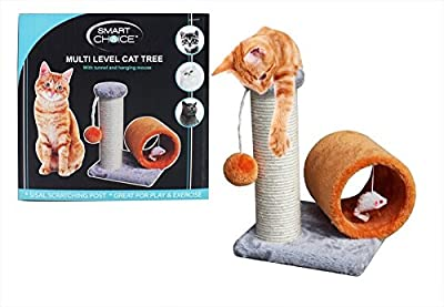 Cat Kitten Scratching Post Tunnel Scratching Tree Scratcher Sisal Rope Ball Toy