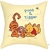 Orimupasu cross stitch embroidery kit Disney cushion Winnie the Pooh and Tigger cream 6000