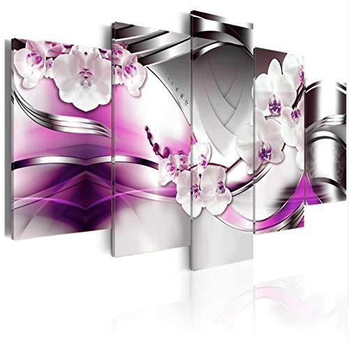 upinfan Modulare Malerei Wohnkultur Wohnzimmer 5 Stücke Magnolien Blumen Bilder Print Moth Orchid Floral Leinwand Poster Wandkunst Rahmen - Magnolia Blumen-print