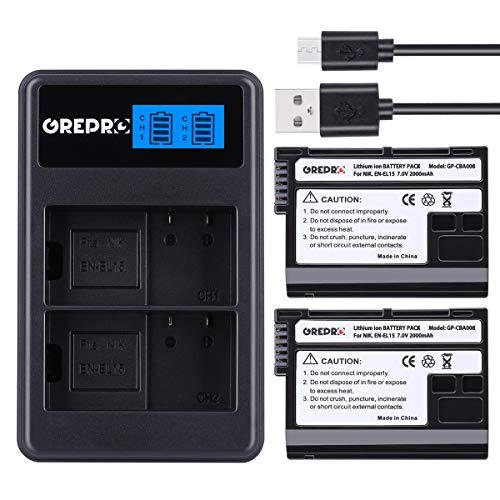 EN-EL15 2 x Batterie di Ricambio da 2000mAh con Caricatore Doppio USB,100% Compatibile per Nikon 1 V1, D7100, D750, D7000, D7200, D810, D610, D800, D600, D800e, D810a