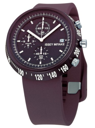 Issey Miyake Men's Purple Rubber Band Steel Case Quartz Chronograph Watch SILAT006