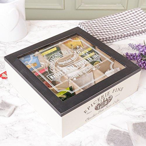 Dibor - French Style Accessories for the Home Neun Fach Gentlemen 's Tee Box–Ein einzigartiges Geschenk Idee für eine Tee–24x H8cm (T530)